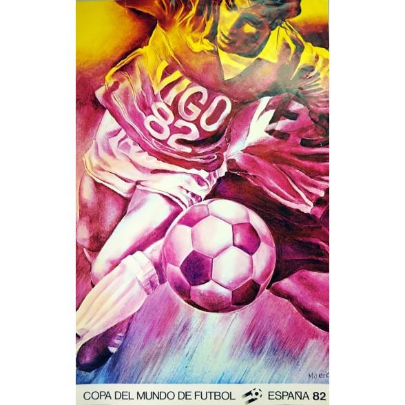 Cartel Oficial de Vigo, España 82 - El delantero-centro de Monory
