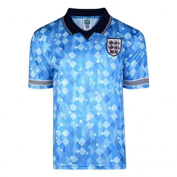 England 1990 Aüswarts Azurblau retro trikot