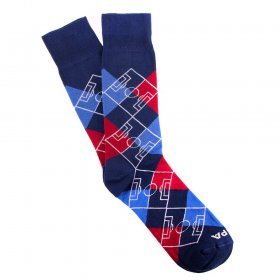 Argyle Pitch / Navy Blau - Rot - Blau -  Whiite